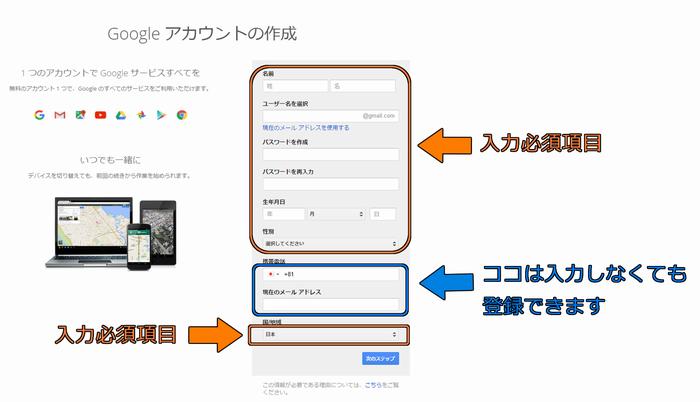Googleアカウントの作成方法1